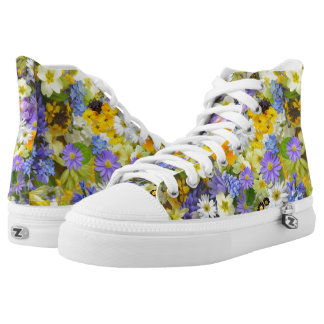 Beautiful Spring Meadow Flowers High Top Shoes Printed Shoes