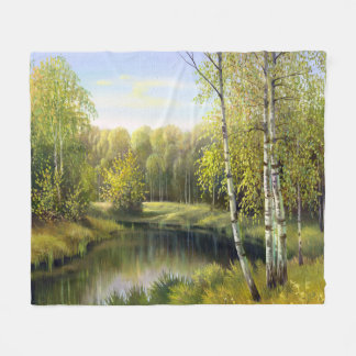 Beautiful Spring Painting Fleece Blanket