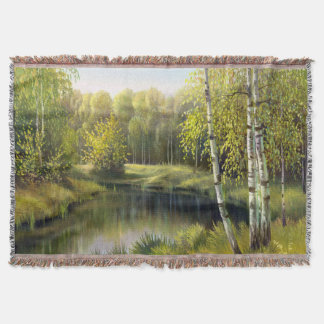 Beautiful Spring Painting Woven Throw Blanket