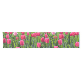 Beautiful spring pink tulip flowers short table runner