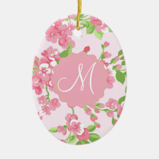 Beautiful Spring pink watercolor peach flowers Bea Christmas Ornament