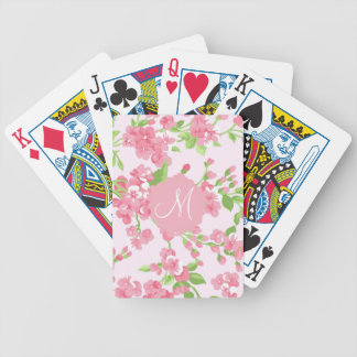 Beautiful Spring pink watercolor peach flowers Bicycle Playing Cards