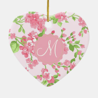 Beautiful Spring pink watercolor peach flowers Christmas Ornament