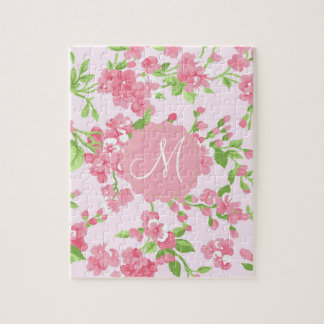 Beautiful Spring pink watercolor peach flowers Jigsaw Puzzle