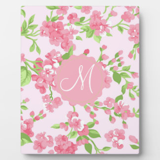 Beautiful Spring pink watercolor peach flowers Plaque