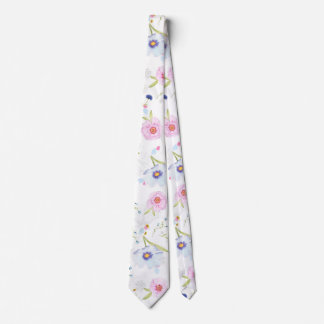 Beautiful Spring watercolor flowers Tie