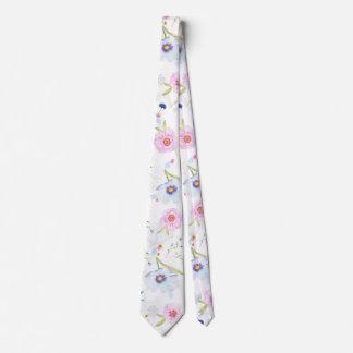 Beautiful Spring watercolor flowers Tie