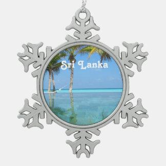 Beautiful Sri Lanka Snowflake Pewter Christmas Ornament