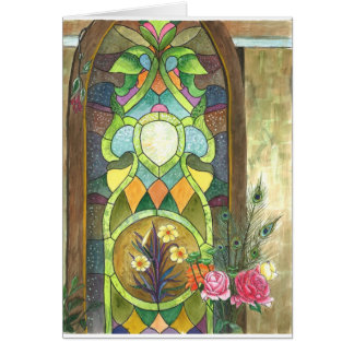 beautiful stain glass panel to congratulate weddin card