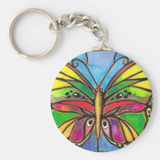 Beautiful Stained Glass Butterfly Watercolor Art! Basic Round Button Key Ring