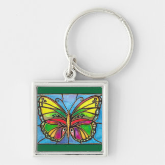 Beautiful Stained Glass Butterfly Watercolor Art! Silver-Colored Square Key Ring
