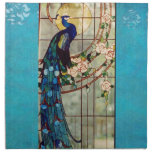 Beautiful Stained Glass Peacock Cloth Napkin