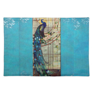 Beautiful Stained Glass Peacock Place Mats