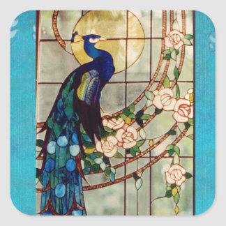 Beautiful Stained Glass Peacock Square Sticker
