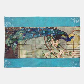 Beautiful Stained Glass Peacock Tea Towel