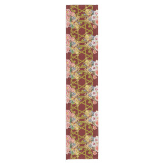 Beautiful Star of David with flowers on maroon Short Table Runner