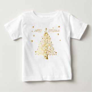 Beautiful starry metallic gold Christmas tree Baby T-Shirt