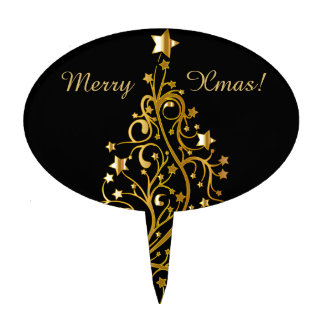 Beautiful starry metallic gold Christmas tree Cake Toppers