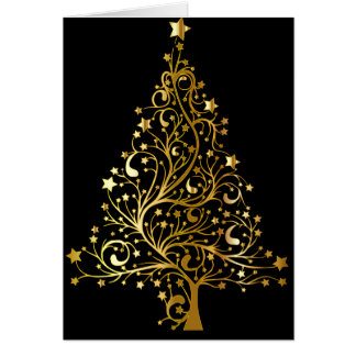 Beautiful starry metallic gold Christmas tree Card