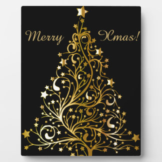 Beautiful starry metallic gold Christmas tree Photo Plaque