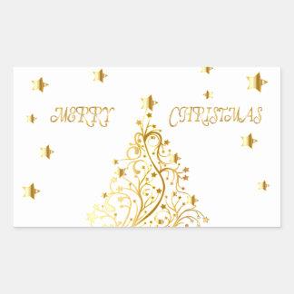 Beautiful starry metallic gold Christmas tree Rectangular Sticker