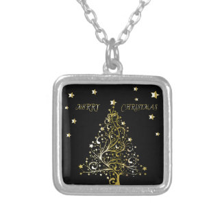 Beautiful starry metallic gold Christmas tree Silver Plated Necklace