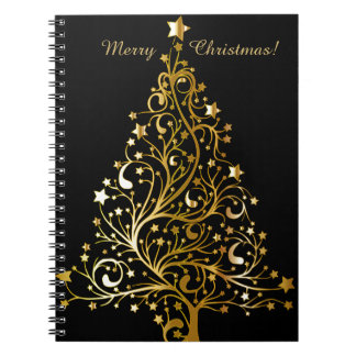 Beautiful starry metallic gold Christmas tree Spiral Notebook