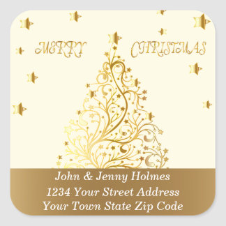 Beautiful starry metallic gold Christmas tree Square Sticker