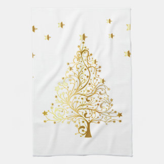 Beautiful starry metallic gold Christmas tree Tea Towel