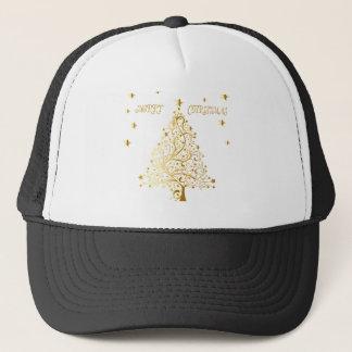 Beautiful starry metallic gold Christmas tree Trucker Hat