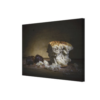 Beautiful still life of bread and grapes canvas print