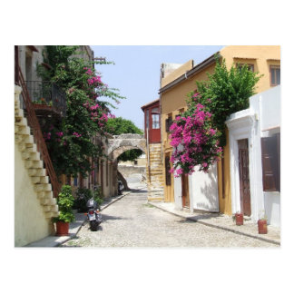 Beautiful Street in Rhodes Old Town Postcard
