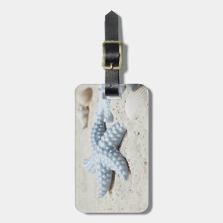 Beautiful summer beach sea star shell and sand luggage tag