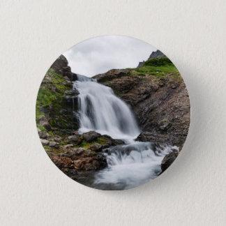 Beautiful summer landscape - mountain waterfall 6 cm round badge