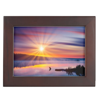 Beautiful summer sunset in the lake keepsake box