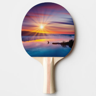 Beautiful summer sunset in the lake ping pong paddle