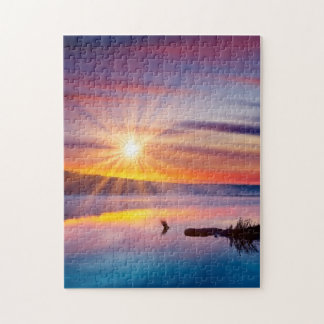 Beautiful summer sunset in the lake puzzle