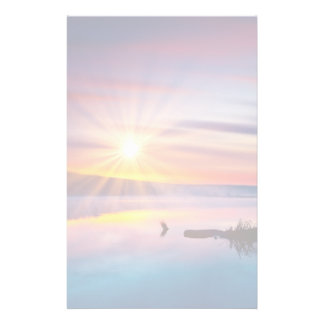 Beautiful summer sunset in the lake stationery paper