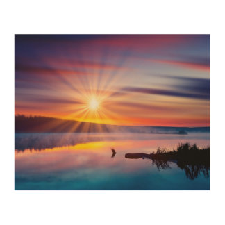 Beautiful summer sunset in the lake wood print
