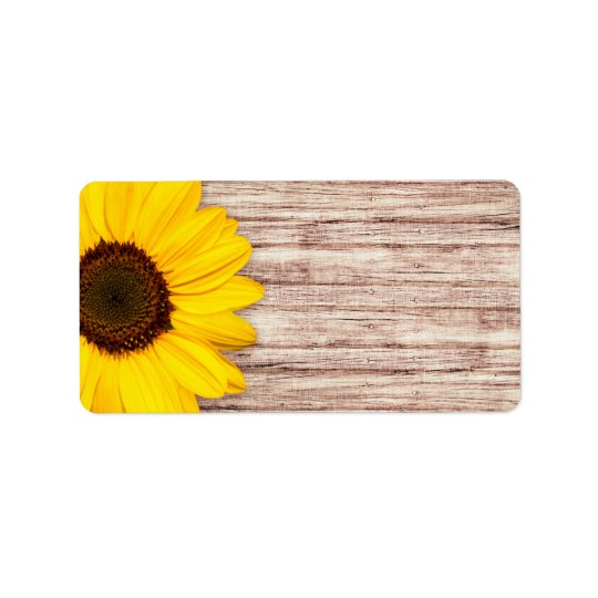 Beautiful sunflower on rustic barn wood blank address label