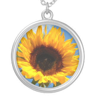 Beautiful Sunflower Silver Plated Necklace