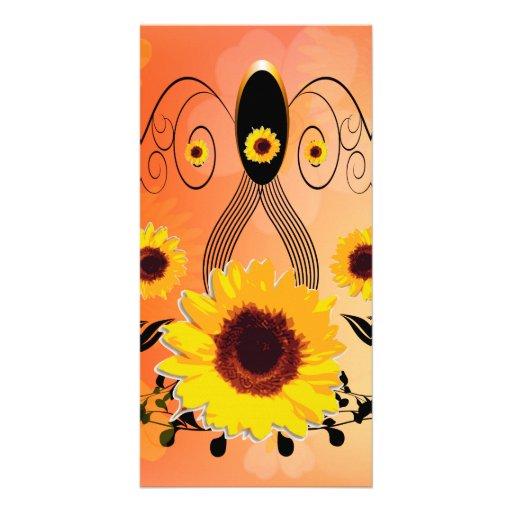 Beautiful sunflowers customized photo card