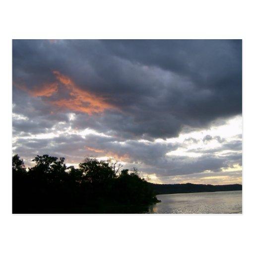 Beautiful Sunrise Along Ohio River cards Post Card