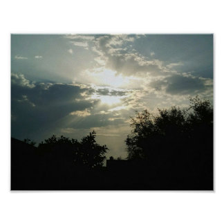 Beautiful Sunrise Photography Clouds and trees Poster