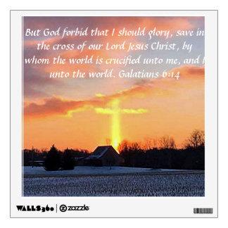 Beautiful sunrise with cross and Galatisn 6:14