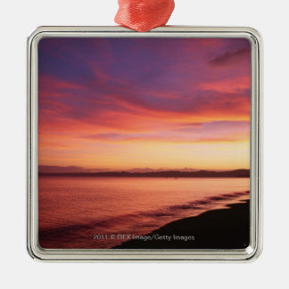 Beautiful sunset at the beach Silver-Colored square decoration