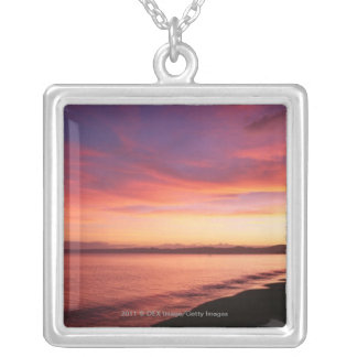 Beautiful sunset at the beach silver plated necklace
