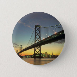 Beautiful Sunset: Bay Bridge, San Francisco, Calif 6 Cm Round Badge