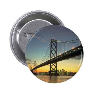 Beautiful Sunset: Bay Bridge, San Francisco, Calif 6 Cm Round Badge