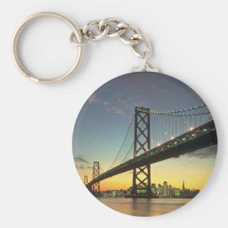 Beautiful Sunset: Bay Bridge, San Francisco, Calif Basic Round Button Key Ring